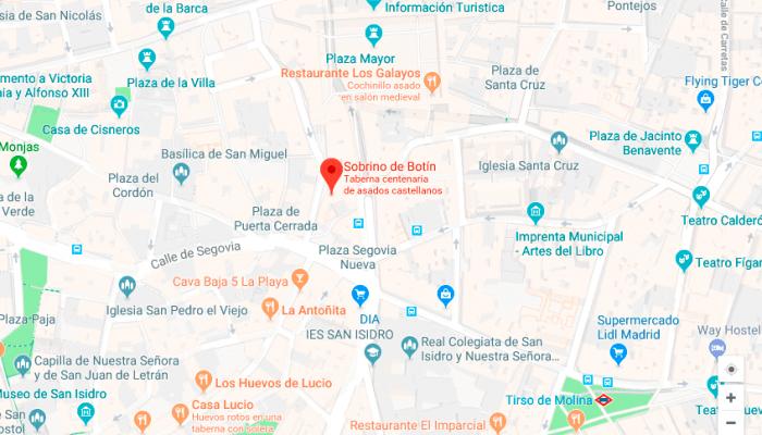 Direcccion del restaurante botin en madrid