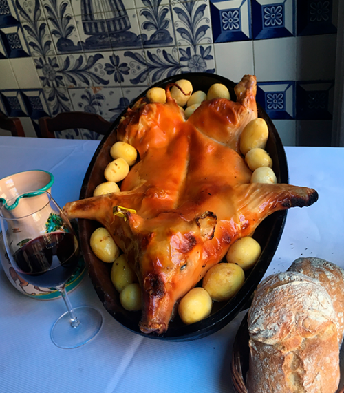 roast pig at Botín Restaurant in Madrid